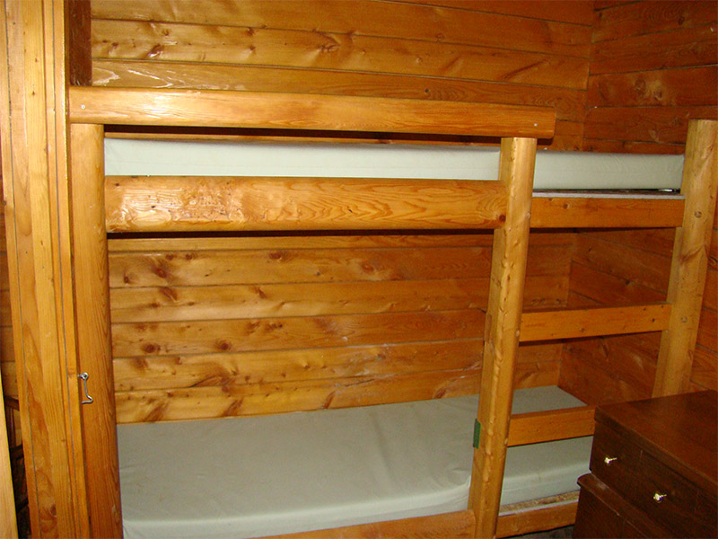 Bunk beds inside log cabin