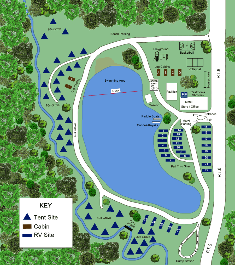 Campsite Map for Lake Chalet, NY